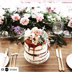 #Repost @brides ・・・ Brides, listen up! The top wedding trends of 2017 are officially here (thanks to #Pinterest, natch) One of our faves on the list? Drip cakes  Tap link in bio to see them all! | : @tome____
