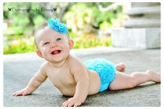 PERFECT Photo Prop Set-  Turquoise ruffle bum baby bloomer and headband-Pick Size and Color - A Photo Prop MUST Have- Available in 10 Color. $17.95, via Etsy.