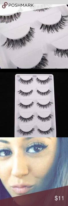 Eyelashes natural black 5set These long false eyelashes are made by high quality synthetic fibers with sparse and cross style, which can match your casual and party makeup. Very soft and comfortable to wear. Wispie/wispy lashes 💅🏽 Accessories