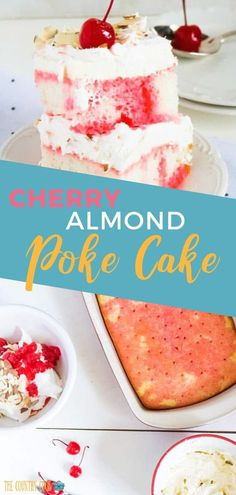 Cherry Almond Poke cake is so easy and delicious! Made with a boxed cake mix maraschino cherries maraschino cherry juice cream cheese and Cool Whip. Dessert Cake Recipes, Dessert Bread, Köstliche Desserts, Delicious Desserts, Cherry Desserts, Cupcake Recipes, Poke Cakes, Cupcake Cakes, Cupcakes