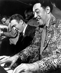 James Stewart and Duke Ellington on the set of Anatomy of a Murder, 1959.