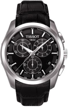 Amazon.com: Tissot Men's Couturier T035.617.16.051.00 Black Leather Swiss Quartz Watch with Black Dial: Tissot: Watches