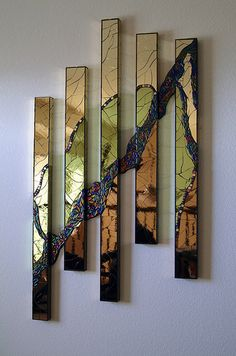 Flowing Waters by Robin Evans, glass artist who creates one-of-a-kind/ limited edition multi-layered sculptural kiln formed glass art. Broken Glass Art, Sea Glass Art, Glass Wall Art, Stained Glass Art, Wood Wall Art, Window Glass, Glass Partition, Shattered Glass, Wood Glass