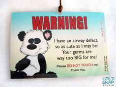 3 Pack: Airway Defects Please Don't Touch My Baby Car Seat Carrier Sign, Stroller Tags  - More Than I Can Bear #airwaydefect #Airway #defects #baby #etsy #donottouch