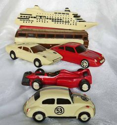 hand-made chocolate ship, bus, Porsche, Ferrari, Racing car Formula 1, VW Herbie Beetle