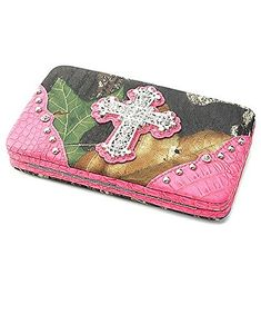 Mossy Oak Camouflage Rhinestone Cross Flat Clutch Wallet Hot Pink. Mossy Oak Licensed Fashion Wallet. ID Pocket with Window & Credit Card Slot. Snap Closure. Checkbook Holder Included. Materials: Canvas & Faux Leather.