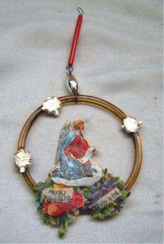 Weihnachtsschmuck Christbaumschmuck Gablonz Glasring mit Oblatenbild