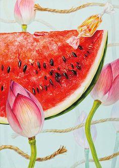 Hey Man, Summer Rain, Still Life, Watermelon, Art Drawings, Short Hair Styles, Japan, Illustration, Artwork