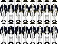 Royal Navy Uniforms The uniforms are, from left to right: - Midshipman - Lieutenant - Commander - Captain, Under Three Years Seniority - Captain, Over Three Years Seniority - Rear Admiral - Vice Admiral - Admiral Royal Navy Uniform, Marine Uniform, Master And Commander, Lt Commander, Naval History, Military History, Larp, Mode Renaissance, Navy Uniforms