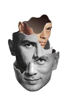 Matthieu Bourel crée des collages à partir de vieilles illustrations et livres ainsi que des animations en gif dans lesquelles des visages révèlent des strates étranges sous la peau des personnages.