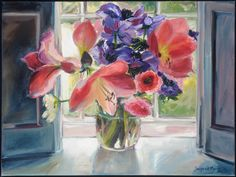 Amaryllis at the window by Janetje van der Merwe