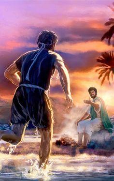 岸にいるイエスの方へ走って行くペテロ