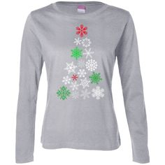 Christmas Snow Tree Ladies Long Sleeve Cotton Shirt Snow, Lady, Long Sleeve, Sleeves, Christmas, Cotton, Shirts, Collection, Products