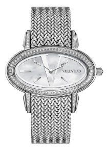 Valentino Women's V50SBQ9191S099 Signature Stainless Steel Diamond Oval Watch Valentino. $1942.50. Swiss quartz movement. White mother of pearl  with stainless steel V logo dial. Traditional knitted metal band. Stainless steel case with diamonds on bezel and lugs. Water resistance to 30 meters(99 feet). Save 48% Off!