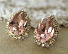 Blush pink earrings, Pink Blush rhinestone studs Swarovski drop earrings bridesmaids gifts,bridal jewelry,Pale pink- Gold plated earrings