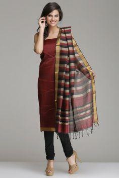 Wine Red Mangalagiri Silk Cotton Unstitched Suit With Black, Grey & Gold Zari Stripes