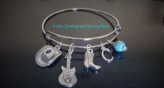Western silver bangle charm bracelet, Personalized, Swarovski Crystal