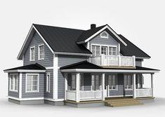 Romantiikkaa, rustiikkia ja valkoisia pintoja. Carolina henkii maalaisromantiikkaa jo ulko-ovella. Koristeelliset yksityiskohdat ja isot terassit ovat oleellinen osa Carolinan viehättävyyttä. Modern Farmhouse Exterior, Farmhouse Plans, New England Hus, Exterior Gris, Home Suites, Sims House Design, Sims Building, A Frame House, Sims 4 Houses