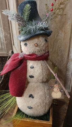 Handmade Primitives for all seasons by MeNtheGirls Primitive Country Christmas, Primitive Christmas, Handmade Christmas, Rustic Christmas, Primitive Wood Crafts, Primitive Snowmen, Wooden Snowmen, Primitive Patterns, Snowman Crafts