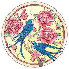 Vitray pencere kuşları çiçekler ile — Stok İllüstrasyon #68254859