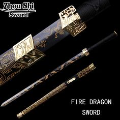 Antique Chinese Han Dynasty sword sword beautifully carved dragon pattern alloy tsuba wood sheath home decoration collection Samurai Weapons, Ninja Weapons, Katana Swords, Knives And Swords, Chinese Weapons, Pretty Knives, Dragon Sword, Cool Swords, Sword Design