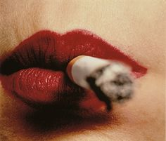 Photography ~ IRVING PENN (B. 1917) Cigarette and Lips, New York, before 1961