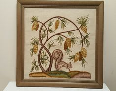 Jacobean Floral Squirrel Finished Kit Elsa Williams Crewel Embroidery framed in Crafts, Handcrafted & Finished Pieces, Needle Arts & Crafts | eBay