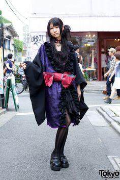Harajuku street fashion | kimono inspired + gothic + purple + giant red bow    love it