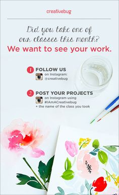 Did you take one of our May classes? We want to see your work. Follow these instructions for a chance to have your work featured in our #IAmACreativebug blog post. One lucky winner will get a $50 gift card to Michaels. Contest ends Wednesday, June 17th at 12am. Happy crafting!