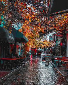 A rainy autumn day in Karaköy, Istanbul by Adem B… Rain Photography, Autumn Photography, Street Photography, Rainy Day Photography, Autumn Rain, Autumn Cozy, Autumn Aesthetic, City Aesthetic, Rainy City