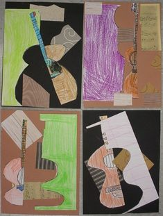 "2nd Grade, Picasso, cutting up and rearranging the parts of a picture to make a cubist collage (H-this could be a good way to save a not so great ""masterpiece"")"