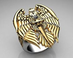 Unique Mens Ring Eagle Ring Sterling Silver and Gold with Black Diamonds By Proclamation Jewelry | by ProclamationJewelry