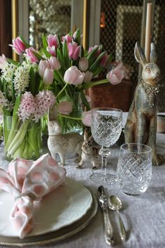 Hellooooo spring.....come out wherever you are! - The Enchanted Home--pink polka dot napkins, jewelry on rabbit