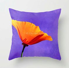 Poppy PILLOW sweet orange purple 20x20  double by newmexicomtngirl