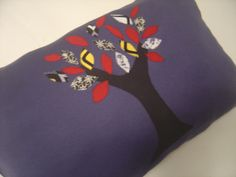 fall tree patched, navy blue pillow, home decor