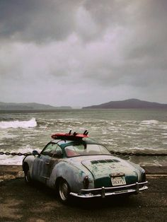 Old car and surf