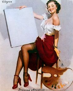 Gil Elvgren - TITLE: Drawing Attention  DATE: 1949  NOTES: Publisher: Brown & Bigelow.