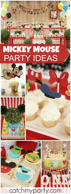 What a colorful Mickey Mouse party for a one year old! See more party ideas at Catchmyparty.com!
