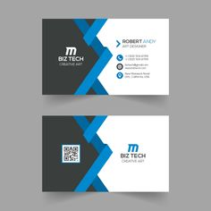 Modern creative blue business card template
