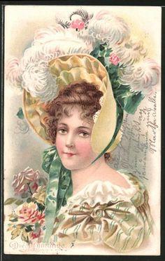 old postcard: Lithographie Die Anmutige, Porträt einer adretten Dame mit Hut