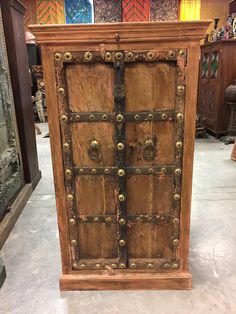 Antique India Armoire old world Brass Patina Floral Chakra Brass Patina, Antique Brass, Rustic Chic, Rustic Farmhouse, Wood Cabinets, Teak Wood, Old World, Chakra, Armoire