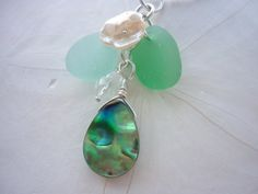 Sea Glass Necklace  Abalone Beach Seaglass Sea by TheMysticMermaid, $30.00