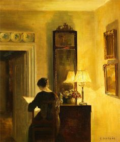 Lady reading in the light of a lamp - Carl Vilhelm Holsoe