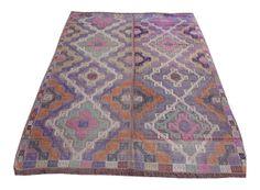 """Sharp Rug 645 SHARP RUG  $645.00  Vintage Turkish Kilim Rug  Handwoven, Naturally dyed, Wool      Size - 40.5"""" x 42.5"""""""
