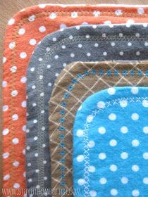 stayathomeartist.com: reversible flannel receiving blankets with decorative stitching...