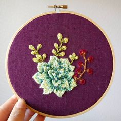 This lil hoop will be on its way to its new home tomorrow! So much fun to stitch with these happy colors. #hoopart #embroidery #handembroidery #handstitched #succulents #fromhandtohome #makersgonnamake #abmcrafty #modernmaker #supportsmallbussiness #shoppnw