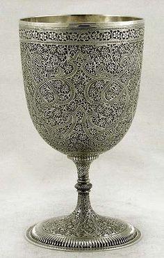 Ornate solid silver wine goblet from Kashmir, India - c1880 (supershrink)