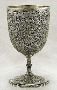 Ornate solid silver wine goblet from Kashmir, India - c1880 (supershrink)