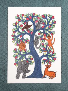 Buy White Multi Color Tree of Life Gond Painting by Dwarka Prasad Paper Acrylic Permanent Ink Online at Jaypore.com