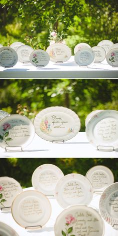 Vintage china was used as seating cards at this 1920′s inspired garden wedding